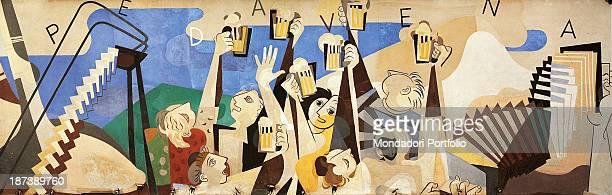 Italy Veneto Padavena Birreria Padavena All A fresco on wall depicts a scene where some men and women are raising mugs of beer The decorative...