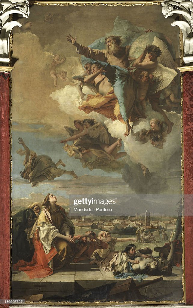 Italy Veneto Padua Este Cathedral of Santa Tecla Whole artwork view In the lower part the little saint embracing a ill person probably with plague In...