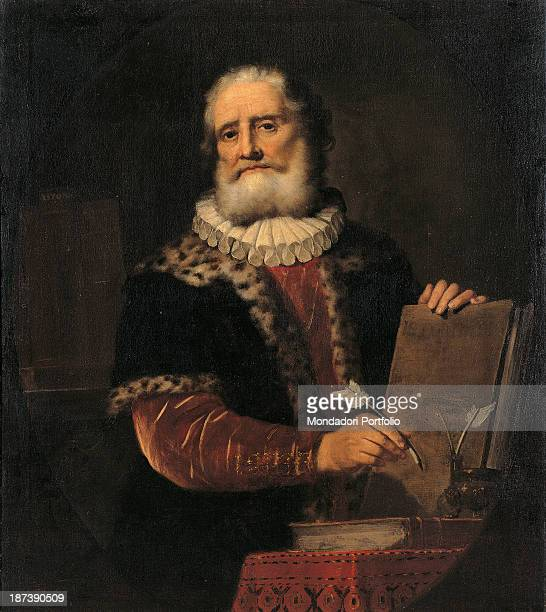 Italy Veneto Rovigo Accademia dei Concordi Pinacoteca All Jurist and scholar Giovanni Bonifacio holds up a book while another lays on the table in...