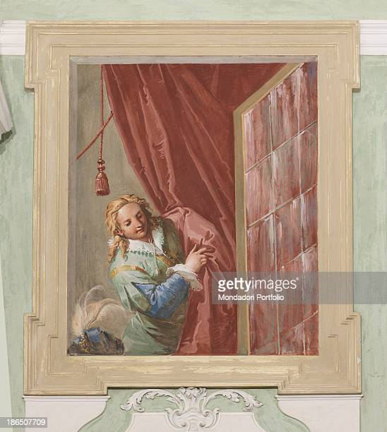 Italy Veneto Treviso Castelfranco Palazzo Riccati Avogadro Whole artwork view A pageboy overlooking out