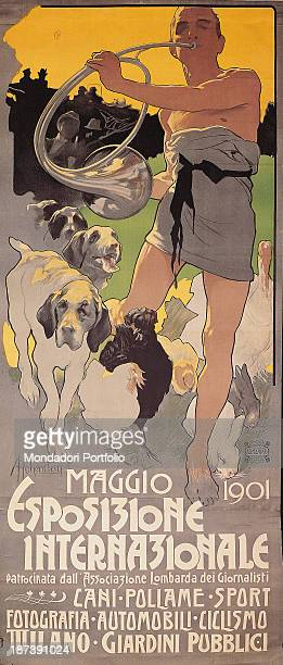 Italy Veneto Treviso Museo Civico Luigi Bailo Advertising poster of an animal exhibition A halfnaked man is walking in the grass playing a trumpet...