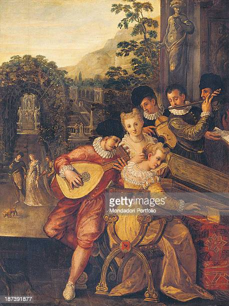 Italy Veneto Treviso Museo Civico Luigi Bailo All Some musicians wearing lace ruffs necklaces blouses and hats play instruments including viola lute...
