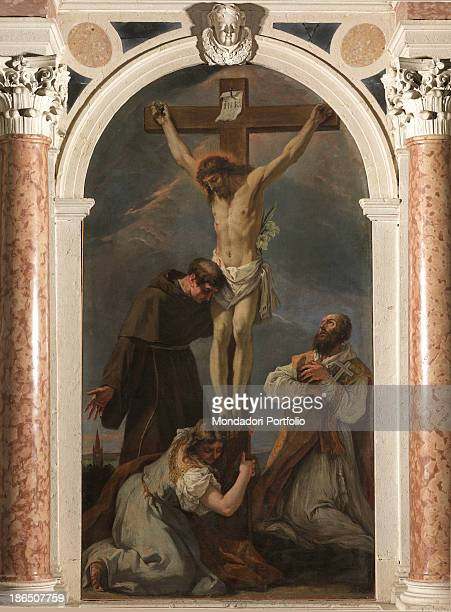 Italy Veneto Treviso Padernello di Paese parish church Whole artwork view Christ on the cross at his feet Madeleine embracing the cross On the left...