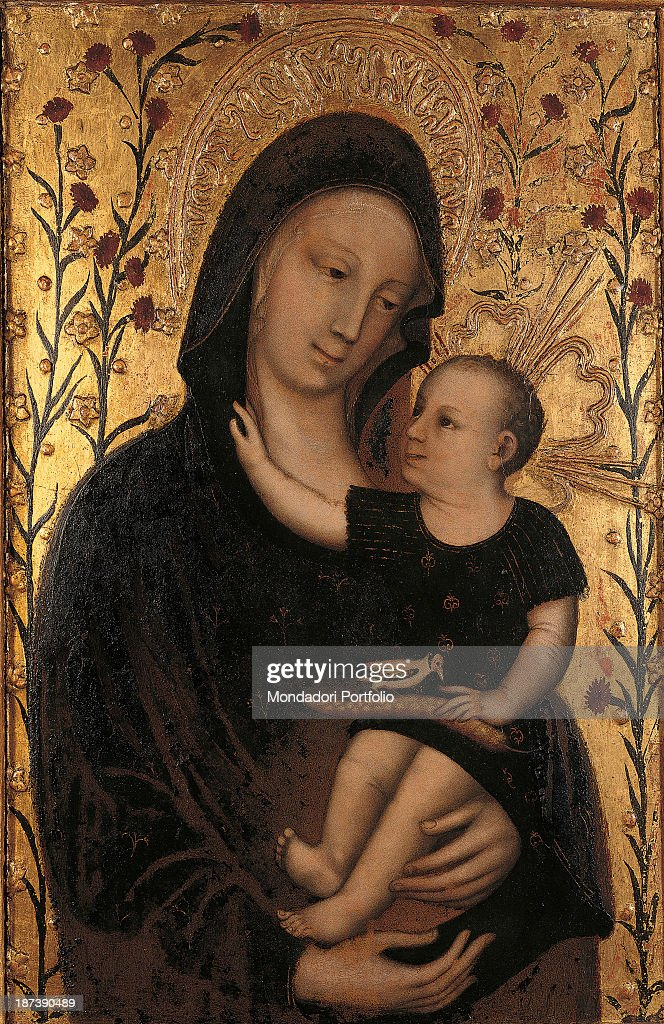 Italy, Veneto, Venezia, Banca Popolare, All, Madonna Saint Mary the Virgin with Child Jesus, Background decorated with golden colours depicting roses and flowers, Around Madonna's and Child's heads are two halos, .