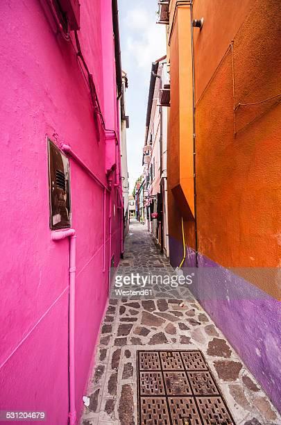 Italy, Veneto, Venice, Burano, Colourful houses and alleyway