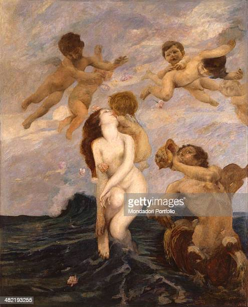 Italy Veneto Venice Ca' Pesaro International Gallery of Modern Art Whole artwork view Venus emerges from rippling waves surrounded by some putti and...