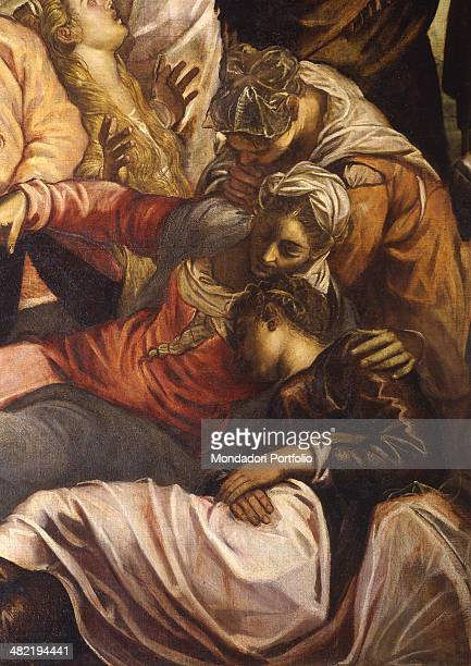 Italy Veneto Venice Confraternity of the Scuola Grande di San Rocco Detail Our Lady fainting at the feet of the cross