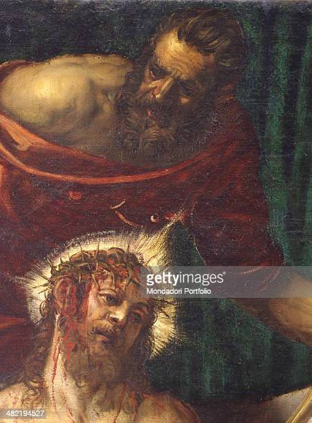 Italy Veneto Venice Confraternity of the Scuola Grande di San Rocco Detail Detail of the face of Christ with a man behind him who supports him
