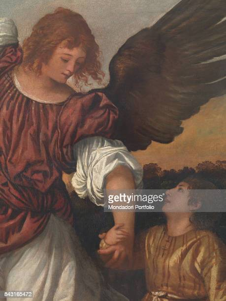 Italy Veneto Venice Gallerie dell'Accademia Detail Saint Raphael the Archangel holding the young Tobias by the hand