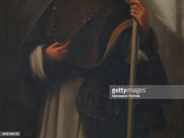 Italy Veneto Venice Gallerie dell'Accademia Detail Saint Sinibald the rosary the shoulder bag and the stick