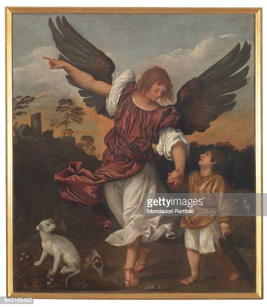 Italy Veneto Venice Gallerie dell'Accademia Whole artwork view Saint Raphael the Archangel holding the young Tobias by the hand while pointing out...