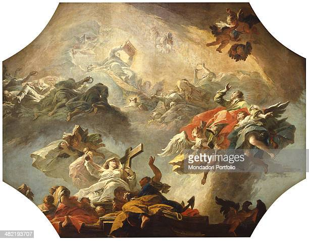 Italy Veneto Venice Major School of Saint John the Evangelist Whole artwork view Vault depicting the ascension of the holy man