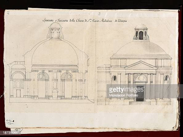 Italy Veneto Verona Biblioteca Civica All Prospect of a section of the Church of Santa Maria Maddalena in Venice where can be noticed the porch the...
