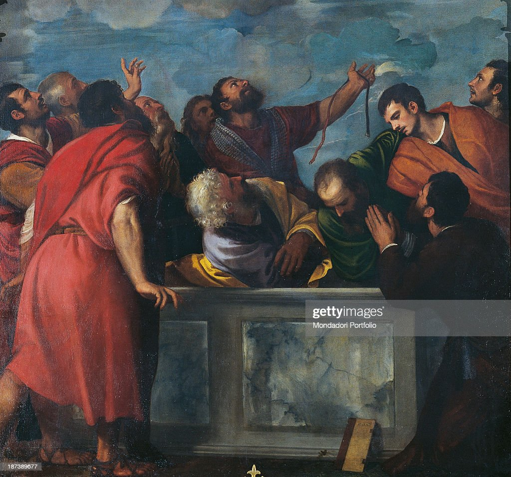 Italy, Veneto, Verona, Duomo - Santa Maria Matricolare, Detail, The apostles wearing red tunics with belts surround the empty tomb,