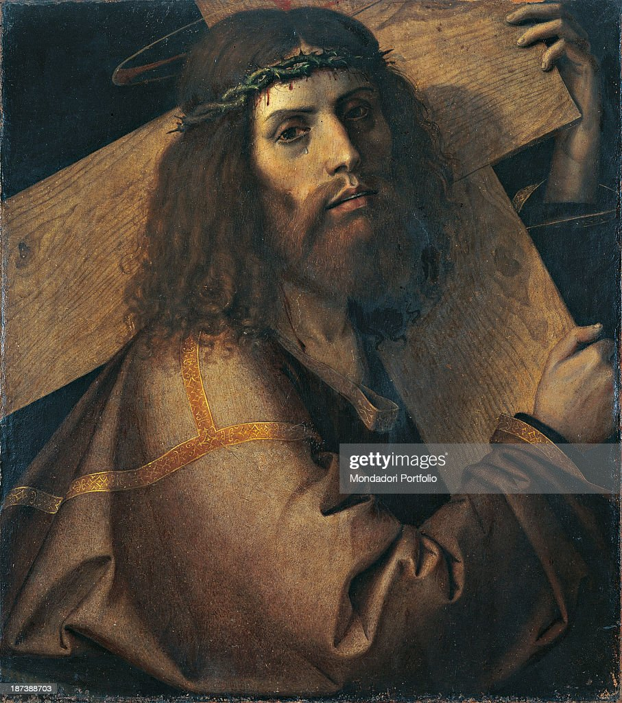 Italy, Veneto, Vicenza, Musei Civici - Palazzo Chiericati; All; The suffering face of Christ with a crown of thorns and a tear; The cross on his shoulders;.