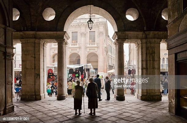 Italy, Veneto, Vicenza, People shopping at street market