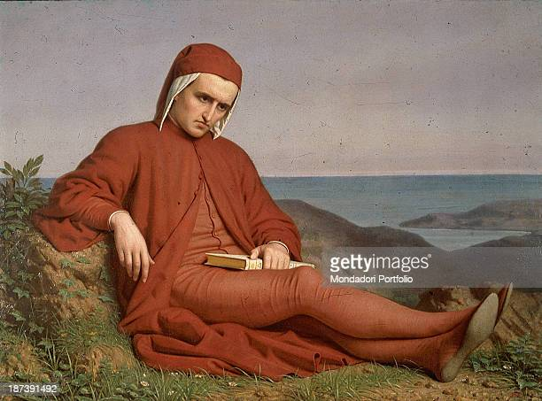 Italy Veneto Vicenza Pinacoteca Civica di Palazzo Chiericati Total The man of letters writer supreme poet Dante Alighieri with clothes a book a...