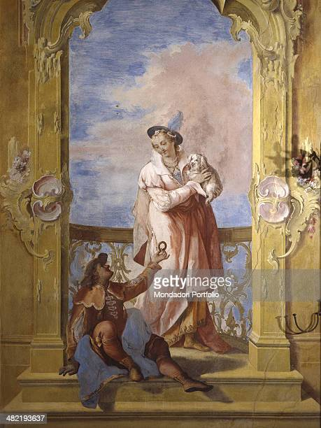 Italy Venice Cinto Euganeo Valnogaredo Contarini Rota Villa Detail Woman and man with a dog