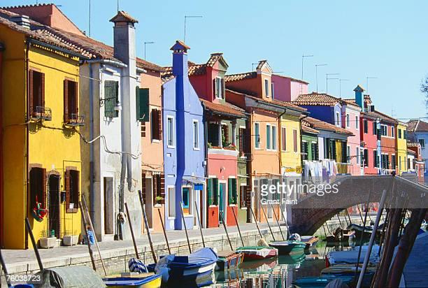 Italy, Venice, colourful houses on Burano Island
