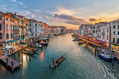 Italy, Venice, Elevated view of canal in city