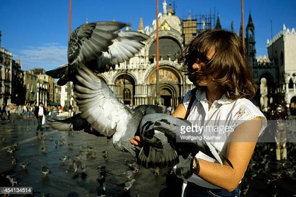 Italy Venice Feeding Pigeons On Plazza San Marco