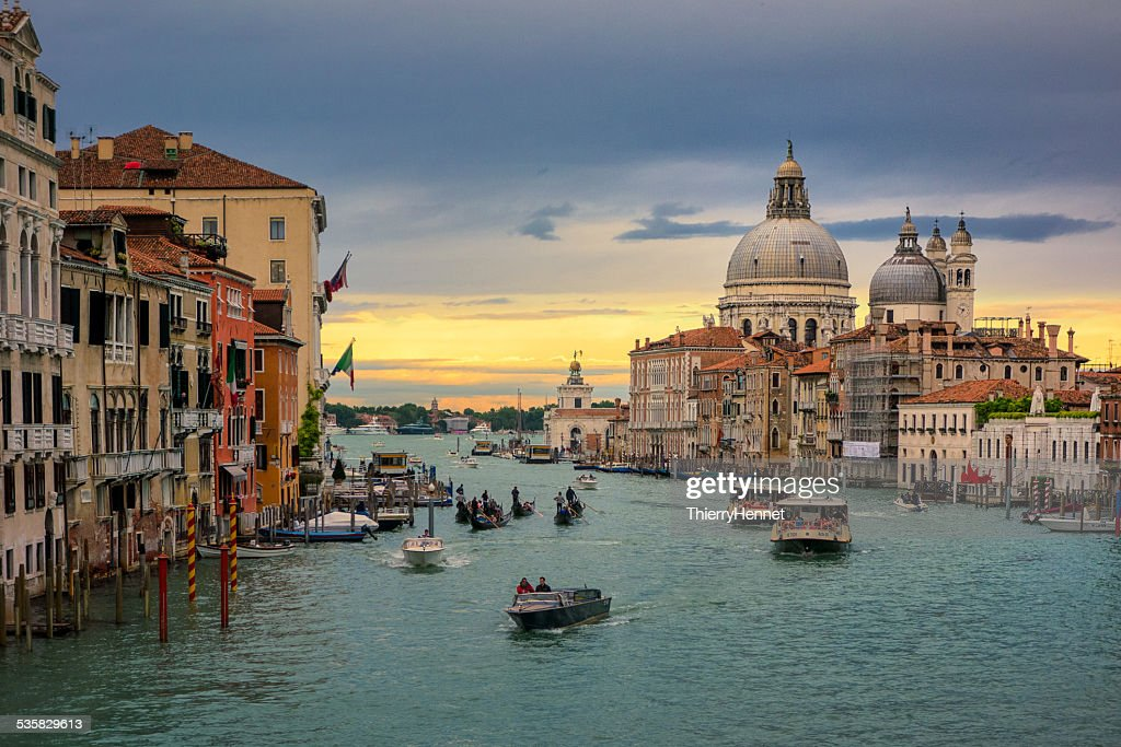 Italy, Venice, Grand Canal with view on Santa Maria della Salute and boats