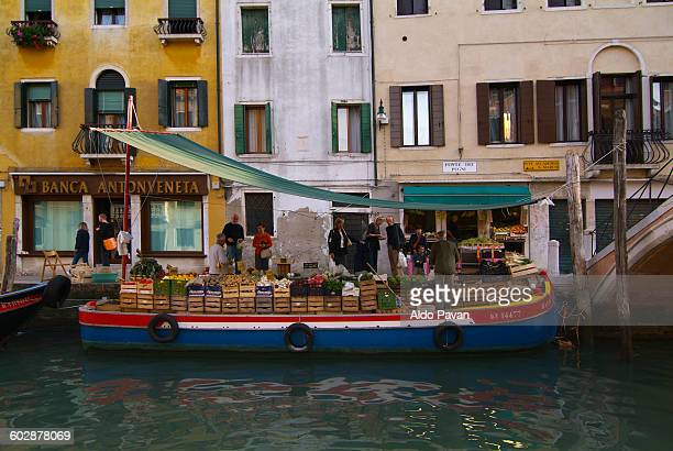 Italy, Venice, greengrocer on boat