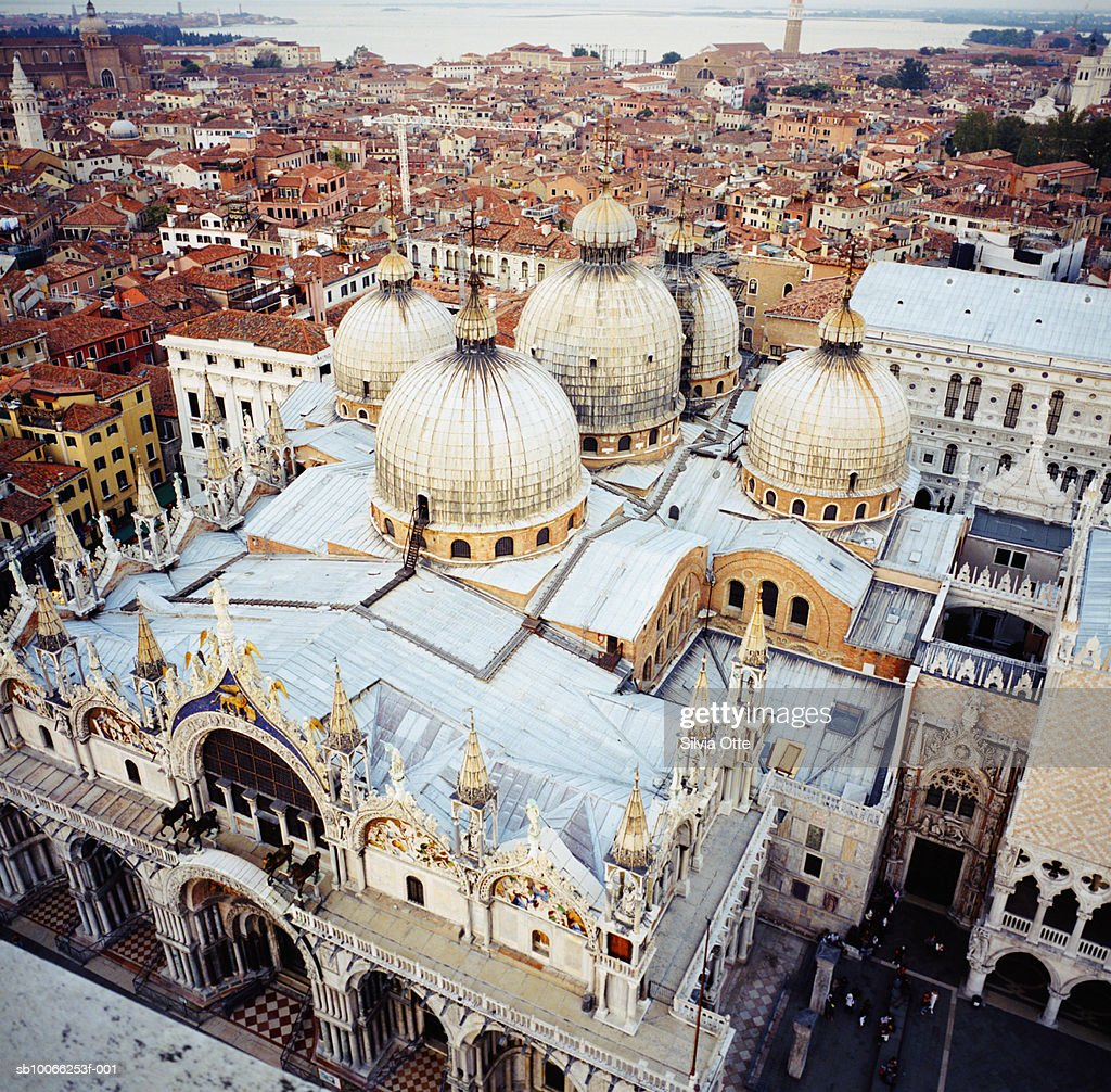Italy, Venice, St Mark's Basilica, elevated view : Stock Photo