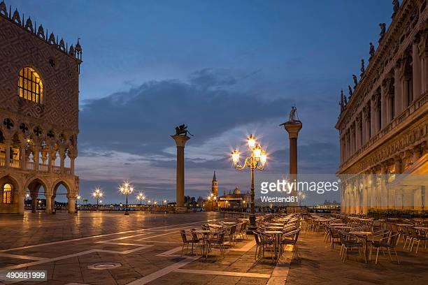 Italy, Venice, St Mark's Square at night