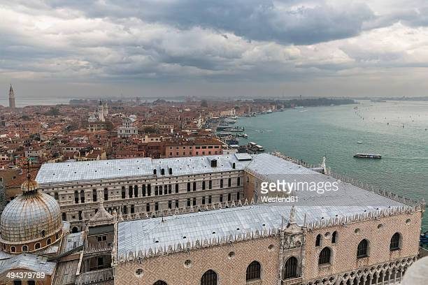 Italy, Venice, View from Campanile to St. Mark's Basilica and Doge's Palace