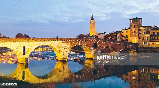 Italy, Verona, Ponte Pietra in winter