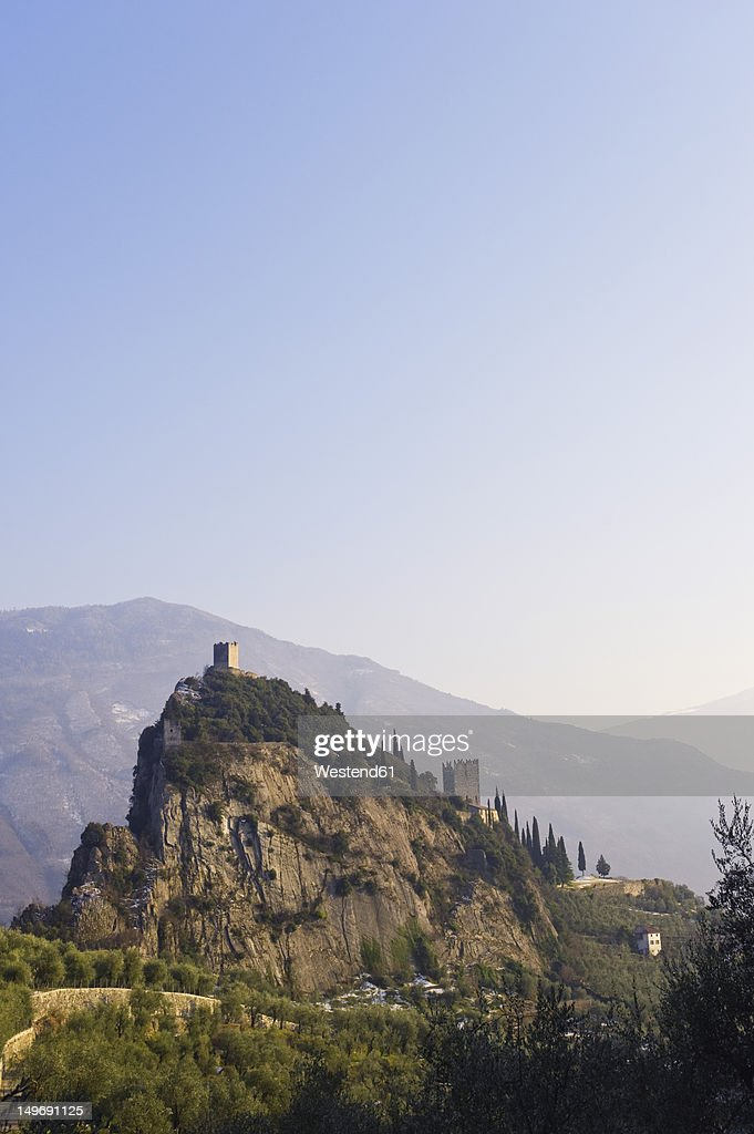 Italy, View of Castello di Arco on summit