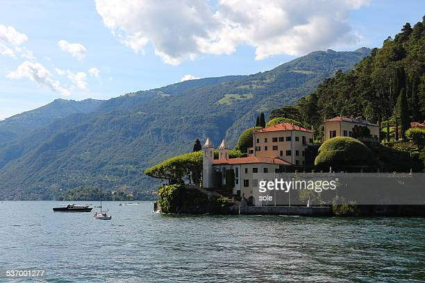 Italy, Villa del Balbianello, View of building with mountain range on background