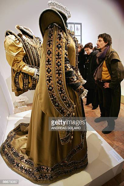 Visitor look at the Piero Tosi's costumes weared in 'Don Carlo' by Italian director Mauro Bolognini during an exhibition of theatre and cinema...