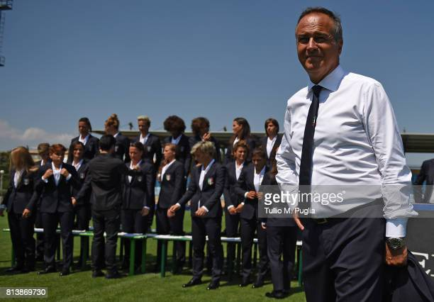 Italy women coach Antonio Cabrini looks on during the official photoshoot ahead of the UEFA Women UEFA Women's EURO 2017 at Coverciano on July 13...