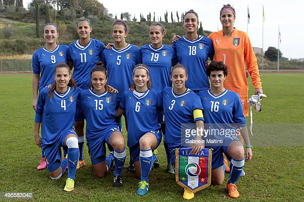 Italy women's U19 poses prior to the international friendly match between Italy U19 and England U19 on November 4 2015 in Montepulciano Italy