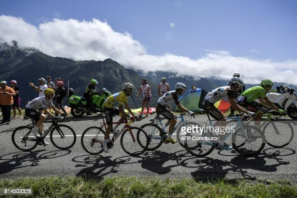 Italy's Alberto Bettiol Luxemburg's Ben Gastauer France's PierreRoger Latour Italy's Fabio Aru wearing the overall leader's yellow jersey and Spain's...