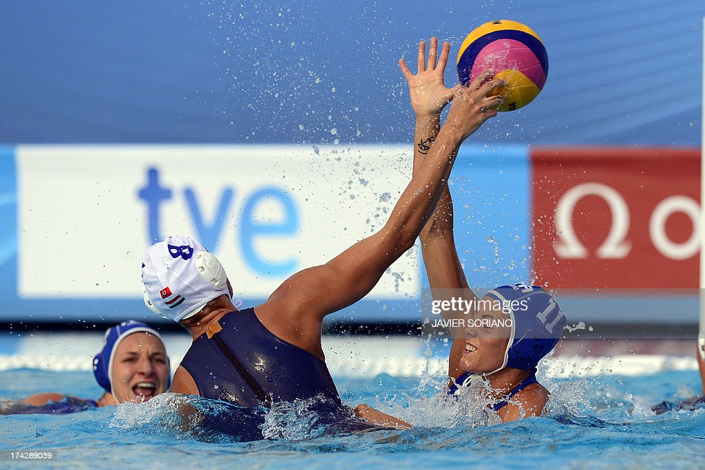Italy's Aleksandra Cotti (R) vies with Hungary's Rita Keszthelyi (L) during their preliminary round match Hungary vs Italy of the women's water polo competition at the FINA World Championships in Bernat Picornell pools in Barcelona on July 23, 2013. AFP PHOTO / JAVIER SORIANO