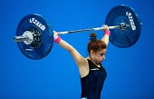 Italy's Alessandra Pagliaro competes in the women's 48kg weightlifting event during the 2014 Youth Olympic Games in Nanjing in eastern China's...