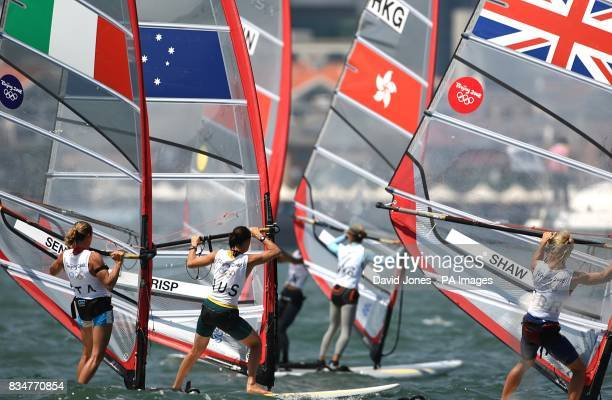 Italy's Alessandra Sensini Australia's Jessica Crisp Hing Kong China's Wai Kei Chan and Great Britain's Bryony Shaw sail in the final round of the...