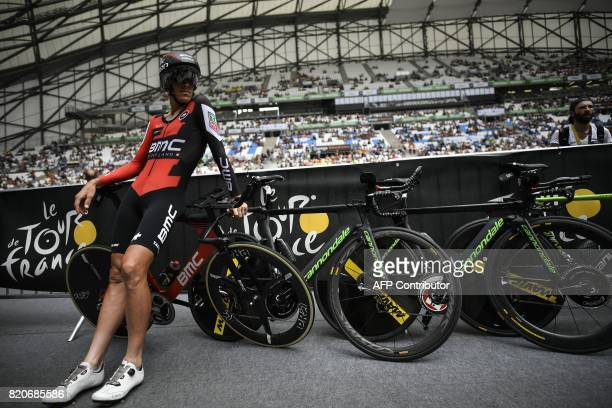 TOPSHOT Italy's Alessandro De Marchi waits at the Velodrome stadium prior to taking the start of a 225 km individual timetrial the twentieth stage of...