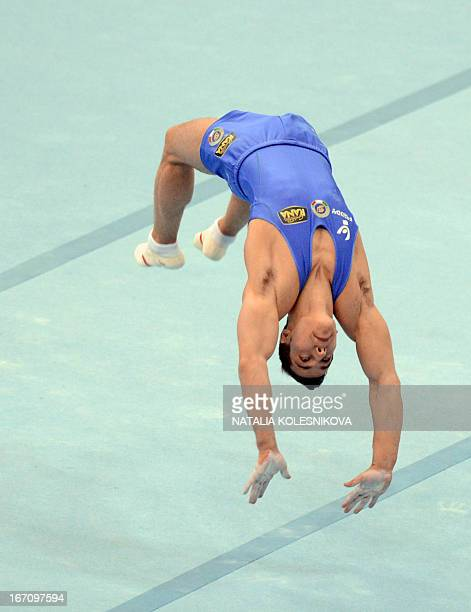 Italy's Andrea Cingolani competes on the floor in the men's apparatus artistic gymnastics finals during the 5th European Men's and Women's Artistic...