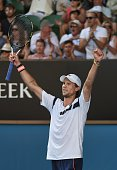 Italy's Andreas Seppi celebrates after victory in his men's singles match against Switzerland's Roger Federer on day five of the 2015 Australian Open...