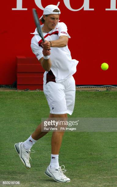 Italy's Andreas Seppi in action against Great Britain's Andy Murray during the Red Letter Days Open at the City of Nottingham Tennis Centre Nottingham