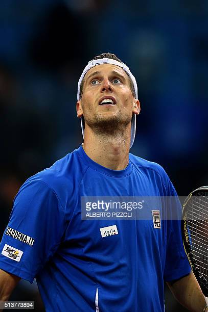 Italy's Andreas Seppi reacts after winnnig the tennis match against Swiss Henri Laaksonen during the first day of the Davis Cup first round World...