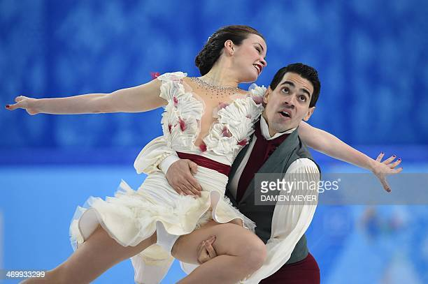 Italy's Anna Cappellini and Italy's Luca Lanotte compete during the Figure Skating Ice Dance Free Dance at the Iceberg Skating Palace during the...