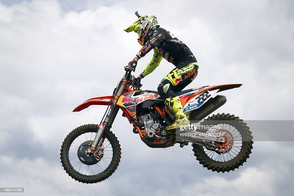 Italy's Antonio Cairoli (KTM) competes during the motocross MXGP Belgian Grand Prix, on August 3, 2014, in Lommel. AFP PHOTO / BELGA / KRISTOF VAN ACCOM **Belgium Out**