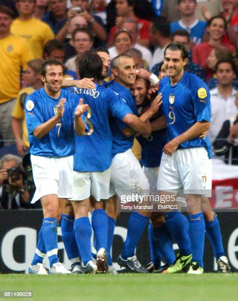 Italy's Antonio Cassano celebrates scoring the opening goal with his teammates