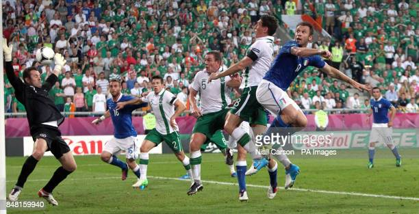 Italy's Antonio Cassano scores the opening goal of the game during the UEFA Euro 2012 Group match at the Municipal Stadium Poznan Poland