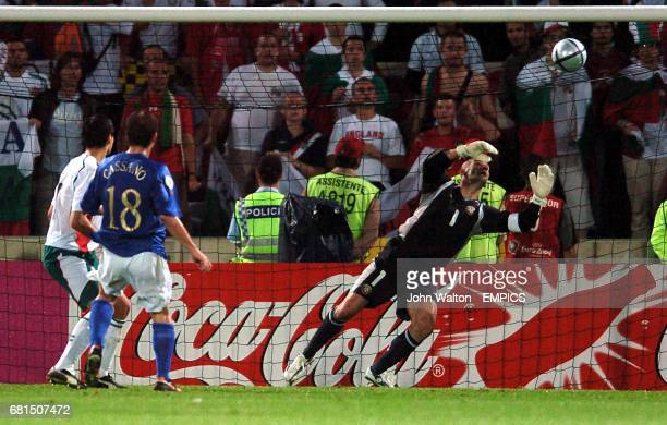 Italy's Antonio Cassano scores the winning goal against Bulgaria